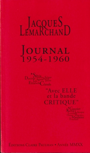 Jacques Lemarchand, Journal 1954-1960, édition Véronique Hoffmann-Martinot